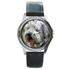 Bearded Collie Round Metal Watch