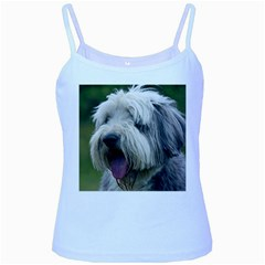 Bearded Collie Baby Blue Spaghetti Tank