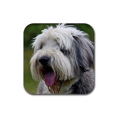 Bearded Collie Rubber Square Coaster (4 pack)