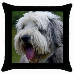 Bearded Collie Throw Pillow Case (Black)