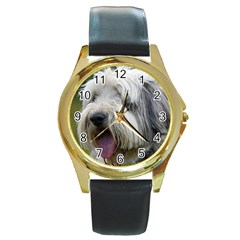 Bearded Collie Round Gold Metal Watch