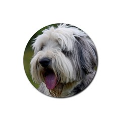 Bearded Collie Rubber Round Coaster (4 pack)