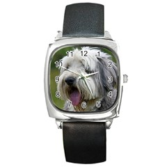 Bearded Collie Square Metal Watch