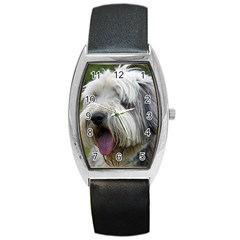 Bearded Collie Barrel Style Metal Watch