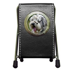 Bearded Collie Pen Holder Desk Clocks