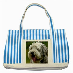 Bearded Collie Striped Blue Tote Bag