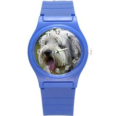 Bearded Collie Round Plastic Sport Watch (S)