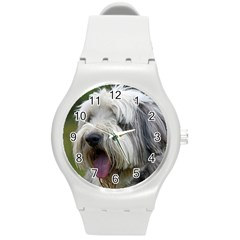 Bearded Collie Round Plastic Sport Watch (M)