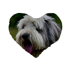 Bearded Collie Standard 16  Premium Heart Shape Cushions