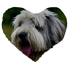 Bearded Collie Large 19  Premium Heart Shape Cushions