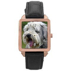 Bearded Collie Rose Gold Leather Watch