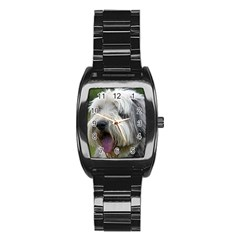 Bearded Collie Stainless Steel Barrel Watch