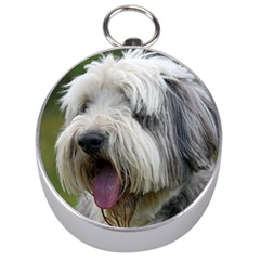 Bearded Collie Silver Compasses