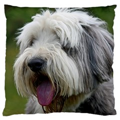 Bearded Collie Large Flano Cushion Case (One Side)