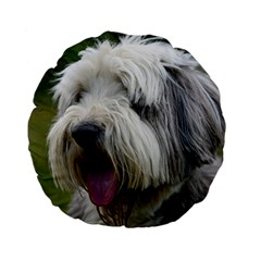 Bearded Collie Standard 15  Premium Flano Round Cushions