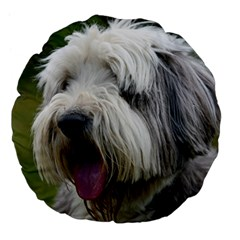 Bearded Collie Large 18  Premium Flano Round Cushions