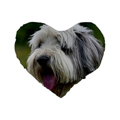 Bearded Collie Standard 16  Premium Flano Heart Shape Cushions