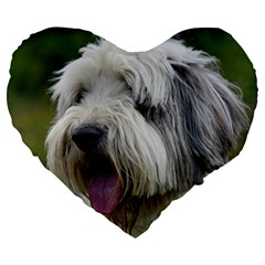 Bearded Collie Large 19  Premium Flano Heart Shape Cushions