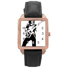 Lemmy   Rose Gold Leather Watch