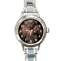 A Fractal Image In Shades Of Brown Round Italian Charm Watch