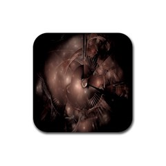 A Fractal Image In Shades Of Brown Rubber Coaster (Square)