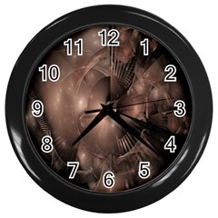 A Fractal Image In Shades Of Brown Wall Clocks (black)