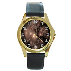 A Fractal Image In Shades Of Brown Round Gold Metal Watch