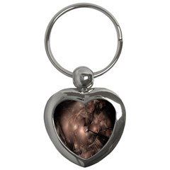 A Fractal Image In Shades Of Brown Key Chains (heart)