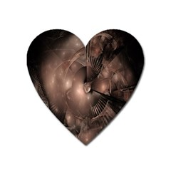 A Fractal Image In Shades Of Brown Heart Magnet
