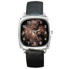 A Fractal Image In Shades Of Brown Square Metal Watch
