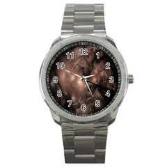 A Fractal Image In Shades Of Brown Sport Metal Watch