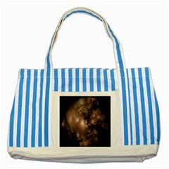 A Fractal Image In Shades Of Brown Striped Blue Tote Bag