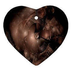 A Fractal Image In Shades Of Brown Heart Ornament (two Sides)