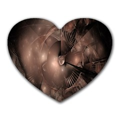 A Fractal Image In Shades Of Brown Heart Mousepads