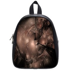 A Fractal Image In Shades Of Brown School Bags (Small)