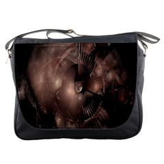 A Fractal Image In Shades Of Brown Messenger Bags