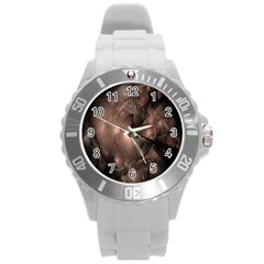 A Fractal Image In Shades Of Brown Round Plastic Sport Watch (L)