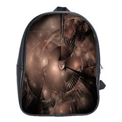 A Fractal Image In Shades Of Brown School Bags (XL)