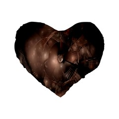 A Fractal Image In Shades Of Brown Standard 16  Premium Flano Heart Shape Cushions
