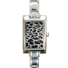 Black And White Giraffe Skin Pattern Rectangle Italian Charm Watch