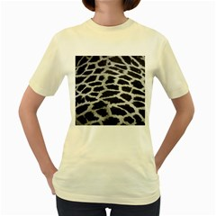 Black And White Giraffe Skin Pattern Women s Yellow T-Shirt