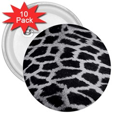 Black And White Giraffe Skin Pattern 3  Buttons (10 pack)