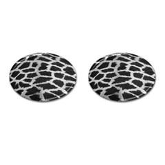 Black And White Giraffe Skin Pattern Cufflinks (oval)