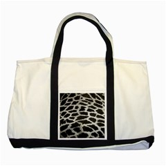 Black And White Giraffe Skin Pattern Two Tone Tote Bag