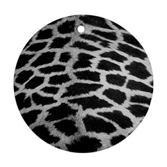 Black And White Giraffe Skin Pattern Round Ornament (Two Sides)