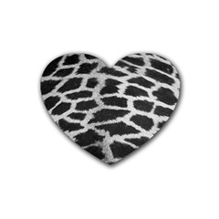 Black And White Giraffe Skin Pattern Heart Coaster (4 Pack)
