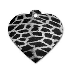 Black And White Giraffe Skin Pattern Dog Tag Heart (two Sides)