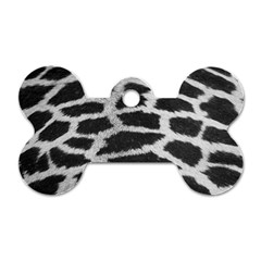 Black And White Giraffe Skin Pattern Dog Tag Bone (two Sides)