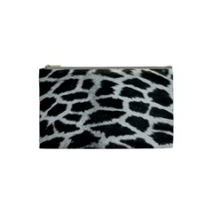 Black And White Giraffe Skin Pattern Cosmetic Bag (small)