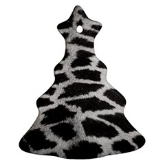 Black And White Giraffe Skin Pattern Christmas Tree Ornament (Two Sides)